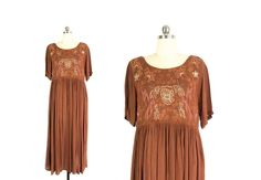 Vintage Embroidered Dress - Empire Waist Dress - Boho Tent Dress with Pockets - Oversized 90s India Dress - Cinnamon Brown - Womens M / L by ImprovGoods on Etsy