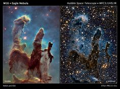 """The pillars of creation."" Hubble's new view of the Eagle Nebula in both visible (left) and infrared (right)."