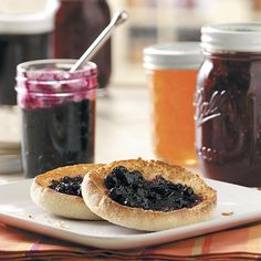 Cinnamon Blueberry Jam Recipe -Watching my grandmother can hundreds of jars of tomatoes, peaches and pears inspired me to first try making jams and jellies myself. This jam is one my family enjoys on warm homemade corn or blueberry muffins. The cinnamon's a bit of a surprise. —Barbara Burns, Phillipsburg, New Jersey