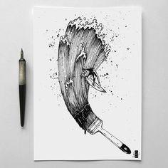 Sketchbook Drawing Brush Original work hand drawn in ink Black art Sketchbook Drawings, Cool Drawings, Drawing Sketches, Pencil Drawings, Drawing Ideas, Tattoo Sketches, Pen Sketch, Art Tumblr, Ink Illustrations