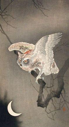 BY KOSON  OHARA  |  OWL AND LAST QUARTER MOON  |    #KosonOhara   /   Косон Охара