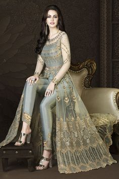 You Will Definitely Earn Lots Of Compliments Wearing This Heavy Designer Floor Length Suit In Grey Color Paired With Grey Colored Bottom And Its Rich Color And Is Making The Suit Attractive. Designer Party Wear Dresses, Kurti Designs Party Wear, Indian Designer Outfits, Indian Outfits, Designer Salwar Suits, Designer Anarkali, Dress Designs, Indian Gowns Dresses, Pakistani Dresses