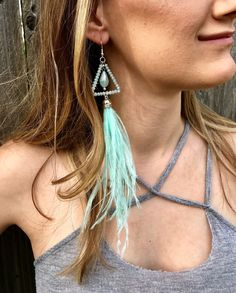 Beaded ostrich feather earring, aqua blue feather earrings, bohemian feather earrings