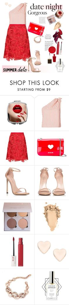 """Smokin' Hot: Summer Date Night"" by ellie366 ❤ liked on Polyvore featuring Rosie Assoulin, Christopher Kane, Love Moschino, Stuart Weitzman, Maybelline, Ted Baker, Tom Ford, Heels, lace and oneshoulder"