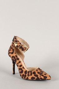 Anne Michelle Momentum-42 Leopard Buckle Pointy Toe Stiletto Pump