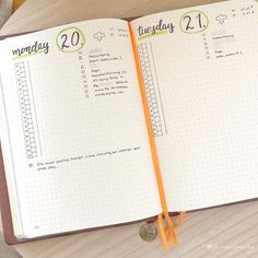 Bullet journal daily layout, vertical timeline, weather tracker. @journalnbooks
