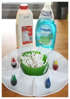 Magic Milk Materials Set Up Classic Science Experiment