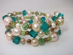 Chunky Green Bracelet, Teal Bracelet, Pearl Bracelet, Bridesmaid Gift, Gift Idea, Wrap Bead Bracelet, Memory Wire Bracelet, Stacked Bracelet