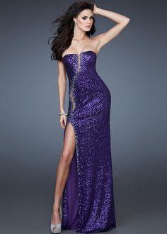 35daf665 Majestic Purple Sequin Long Gown for Prom by La Femme 18305 [La Femme 18305]