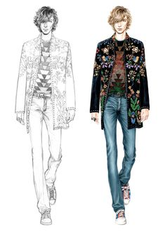 Alessia Zambonin - Istituto Marangoni Fashion Illustration, sketch and rendering #Valentino #fashionsketch #menswear #embroidery #embroideredcoat #fashiondrawing #pantone #copic #fashionillustration #man #malemodel #coat #tennisshoes #denim #jeans #catwalkshow #knitwear #flowery #bohemian