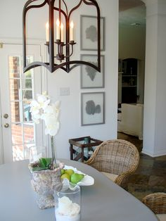 Great chandelier and Kooboo chairs
