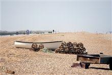 CAS551 Norfolk beach - pebbles- fihermans boats- lobster pots- shoot location