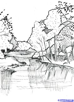 Realistic Drawing Techniques How to Draw a Realistic River, Step by Step, Landscapes, Landmarks Landscape Sketch, Landscape Drawings, Watercolor Landscape, Landscape Architecture, Landscape Paintings, Drawing Sketches, Pencil Drawings, Art Drawings, Sketching