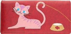 Kitty Cat Goes Fishing Red Applique Wallet