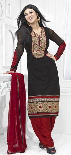$66.67 Black Full Sleeve Embroidered Georgette Salwar Kameez 24319