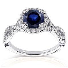 Annello 14k White Gold Sapphire and 1/2ct TDW Black and White Diamond Ring (G-H I1-I2) (Size ) Women's