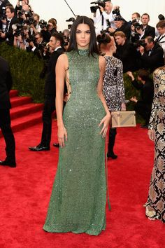 Kendall Jenner in a Calvin Klein Collection jade green crystal-encrusted dress.