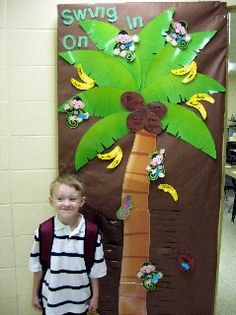 Posted by our partner Adventures in Learning. A Monkey Theme Classroom featuring AIL products - Palm Tree BBSET & Monkey Mischief Accents check out the AIL TREND board for more monkey mischief items! Rainforest Classroom, Jungle Theme Classroom, Classroom Door, Classroom Design, Classroom Themes, Bulletin Board Tree, Preschool Bulletin Boards, Preschool Classroom, Monkey Bulletin Boards