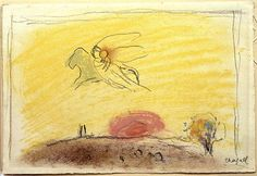 """Study to """"Song of Songs IV"""" Marc Chagall 1958"""