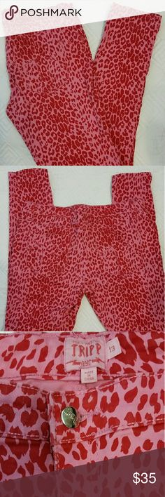 DAANG GOODMAN TRIPP NYC SKINNY JEANS DAANG GOODMAN TRIPP NYC SKINNY JEANS  pink with red leopard print. Classic five pocket. T back pockets, skull rivets, zip fly & button closure. 97%cotton, 3%spandex.  30in long. BRAND NEW CONDITION DAANG GOODMAN TRIPP NYC  Jeans Skinny