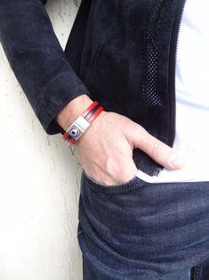 Men's Evil Eye Bracelet Red and Blue Thick Leather | Etsy Thick Leather, Leather Cuffs, Leather Men, Fathers Day Gifts, Valentine Day Gifts, Valentines, Evil Eye Bracelet, Happy Shopping, Gifts For Him