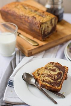 Banana Marbled Loaf Cake #banana #cake #recipe