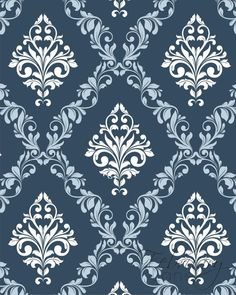 Damask Pattern Printable Wall Art Navy Blue Set of 2 Vintage Geometric In. Pretty Phone Wallpaper, Damask Wallpaper, Pattern Wallpaper, Batik Pattern, Pattern Art, Pattern Design Drawing, Royal Pattern, Paper Background, Background Patterns