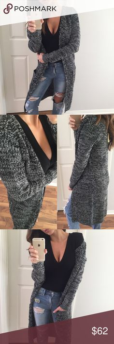 """🌟• SALE! • B & W Knitted Cardigan * Previously sold in maroon, brown & black * This long cardigan sweater is so great for cold weather. Has a chunky thicker knit that is solid. Slimmer arms but still enough room to wear a long sleeve under it ( I have a long sleeve body suit on ). Two front pockets with an open fit. Just a great staple piece to own.     • Modeling:  Small  • Measures: Medium: L 40"""" C 19""""  • Fabric: 100% acrylic   To purchase, please use the """"Self Checkout or """"Add To Bundle""""…"""