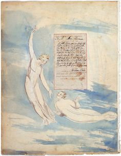 "William Blake. Gray's Poems, c. 1797-98. ""Elegy Written in a Country Church-Yard."" Pen and water color over pencil. The inscriptions are in pen and ink. Yale Center for British Art, New Haven, CT."