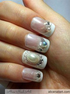 Jewel Nails Wedding inspired