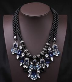 SPX5584 Fashion Big Chunky Statement Crystal Necklace crystal Beads Waterdrop Blue Stone Leather statement necklaces