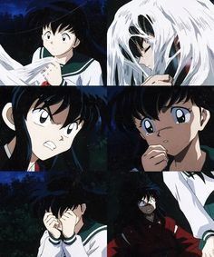Kagome's first time seeing InuYasha in his human form, first she's worried then she's mad at him - screenshots from InuYasha
