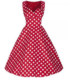 Red Vintage Pin Up Girl Sweetheart Neck Line Polka Dot Print Sleeveless Flare Dress Style: Vintage Material: Polyester Silhouette: Ball Gown Dresses Length: Knee-Length (check measurements) Neckline: