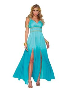 Look mighty fine in our Blue Aphrodite Costume! This elegant Aphrodite costume features a Greek inspired, floor length blue dress with empire waist and slits up each leg. Blue Costumes, Costumes For Women, Halloween Costumes, Halloween Ideas, Spirit Halloween, Halloween Party, Party Costumes, Halloween Gifts, Greek Costumes