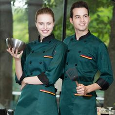 2017 Fall/Winter Restaurant Chef Clothing Double Breasted Fashion Black Red Uniform Men and Women Hotel Cheap Workwear Wholesale Hotel Uniform, Men In Uniform, Uniform Ideas, Chef Clothing, Work Uniforms, Fashion Black, Double Breasted, Amazing Women, Work Wear
