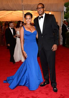 One of my fav celeb couples: LaLa Anthony in Zac Posen and Carmelo Anthony