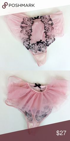 VS Pink Ruffle Embroidery Undie (Small) ✨ very cute looks like a tutu and is comfortable. ✨ Victoria's Secret Intimates & Sleepwear Panties