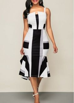 Wide Strap Peplum Hem Color Block Dress,new arrival, free shipping worldwide at rosewe.com, don't wait.