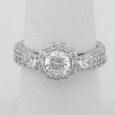 3 Stone Halo Setting Cubic Zirconia Bridal Set Engagement Rings – CZ Sparkle Jewelry®