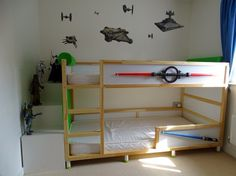 Looking for the perfect IKEA KURA bed for your boy's room? Find exactly what you need right here! There are castle beds, fire truck beds, Star Wars beds, climbing wall beds and more. Kura Cama Ikea, Ikea Bunk Bed, Murphy Bed Ikea, Murphy Bed Plans, Kids Bunk Beds, Trendy Bedroom, Kids Bedroom, Bedroom Ideas, Kids Rooms