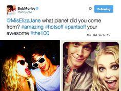 The 100 cast || Bob Morley and Eliza Taylor on twitter || Bellamy Blake and Clarke Griffin || Bellarke || OTP