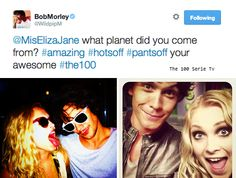 The 100 cast || Bob Morley and Eliza Taylor on twitter || Bellamy Blake and Clarke Griffin || Bellarke || OTP