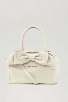 TWIN-SET Simona Barbieri: Box bag with bow and ruching Twin Set, Gym Bag, Accessories, Collections, Clothing, Image, Fashion, Dime Bags, Clothes