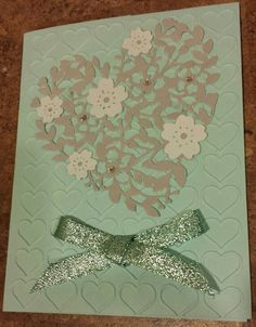 """Uses Bloomin' Hearts thinlits dies and Pool Party 3/8"""" Glitter Ribbon from the Occasions catalog."""