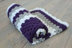 Purple Crochet Baby Blanket Granny Square by PrintandPearls