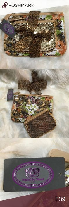 """Sharif Sequined 2 Pouch Set. NWT Sharif Sequined 2 Pouch Set. Large Floral Pouch 9.5""""X7"""", Small Gold Pouch 6.5X 5"""". Gold Hardware. NWT Sharif Bags Cosmetic Bags & Cases"""