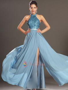 Sequin Halter Dress With Open Back, Elegant Sequin Chiffon Prom/Ball Dress, Light Blue Halter Neck Prom Dress | Next Prom Dresses