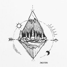 mountain lines drawings tattoos nature cool drawing sketches pen indie instagram blackworknow would