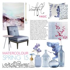 """Watercolour Spring"" by rachaelselina ❤ liked on Polyvore featuring interior, interiors, interior design, home, home decor, interior decorating, Bluebellgray, Pier 1 Imports, Incipit and Sur La Table"
