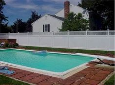 Pool Privacy Fence open top white vinyl privacy fence. low maintenance, pool code